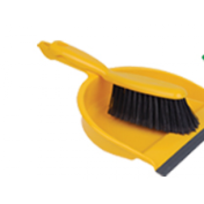 Interlocking Yellow Dust Pan and Brush Set