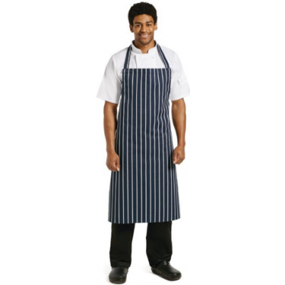 Bib Apron (Butchers Blue & White Stripe)