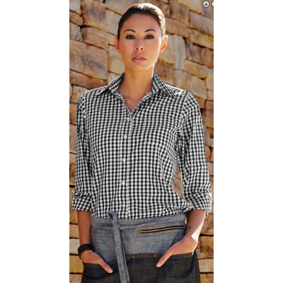 Womens Black Gingham Dress Shirt