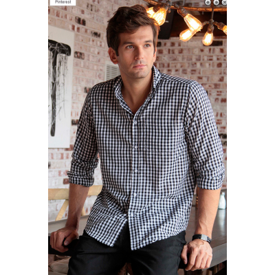 Mens Gingham Dress Shirt Black