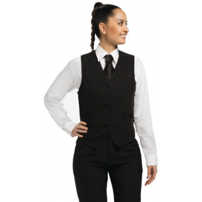 Ladies Black Waistcoat with Black Buttons