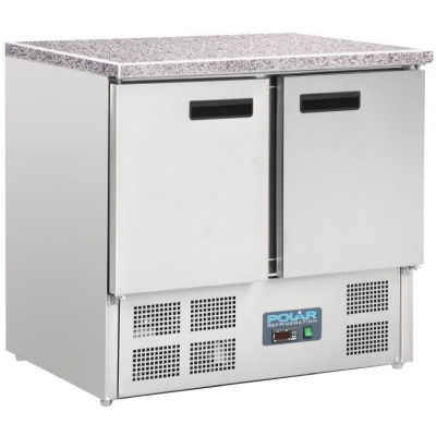 Polar CL108 Double Door Refrigerated Counter with Marble Work Top 240Ltr