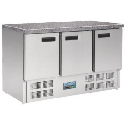 Polar CL109 3 Door Refrigerated Counter with Marble Work Top 368Ltr