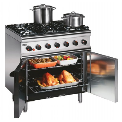 SLR9C/P Lincat Propane Gas 6 Burner Oven - Rear Castors