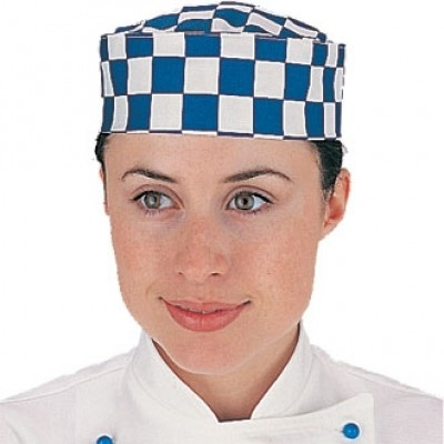 Blue and White Check Chefs Skull Cap