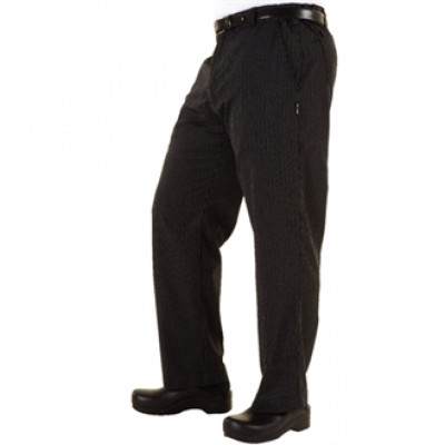 Executive Chefs Trousers - Black & Grey Herringbone Stripe