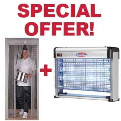 Eazyzap Special Offer - Chain Door Flyscreen & Flykiller Combo