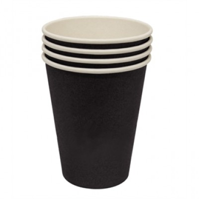 Olympia Black Single Wall Hot Cups