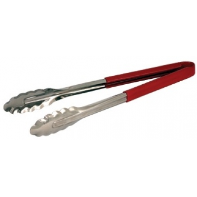 Colour Coded Stainless Steel Tong 31cm Red