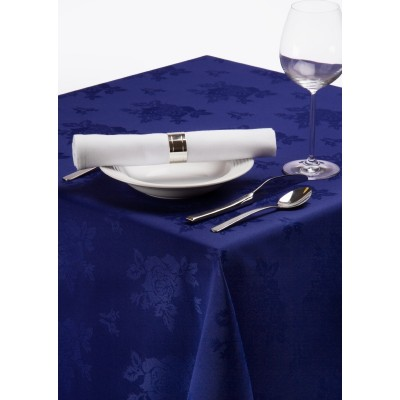 Roslin Polyester Woven Rose Royal Blue Tablecloth 54""""