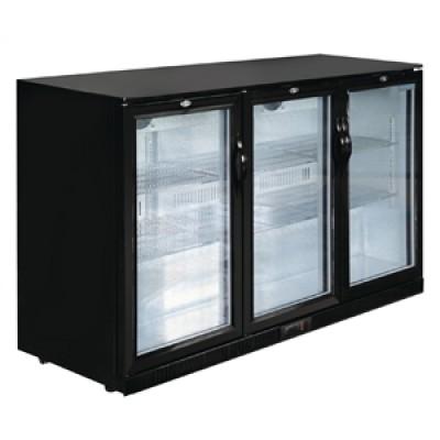 Polar GL014 Triple Hinged Door Back Bar Cooler in Black with LED Lighting