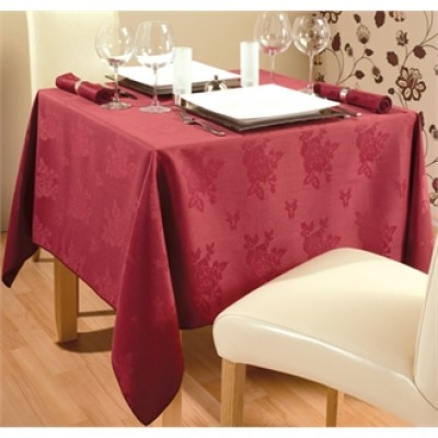 Roslin Woven Rose Burgundy Tablecloth