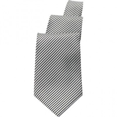 Silver and Black Striped Tie