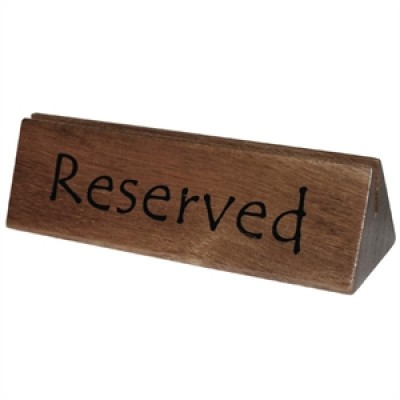 Wooden Reserved Sign and Menu Holder