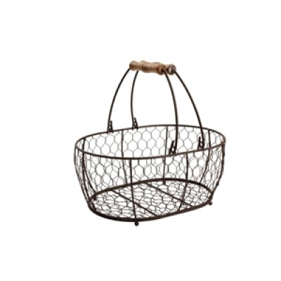 Provence Wire Oval Basket w/ Handles Brown