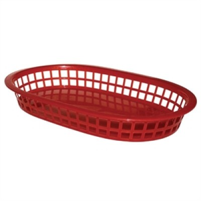 Oval Polypropylene Food Basket Red