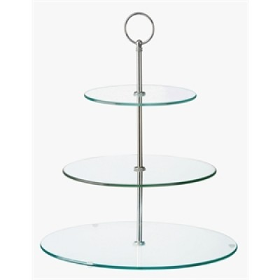 Glass Three Tiered Afternoon Tea Cake Stand
