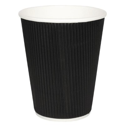 Fiesta Takeaway Coffee Cups Ripple Wall Kraft Black 8oz (25)