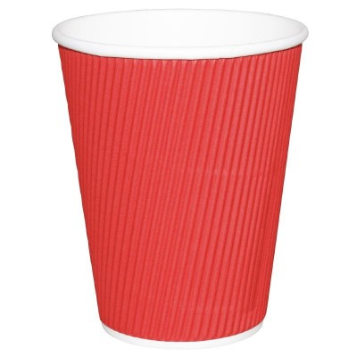 Fiesta Takeaway Coffee Cups Ripple Wall Red 12oz (25)