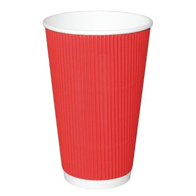 Fiesta Takeaway Coffee Cups Ripple Wall Red 16oz (25)