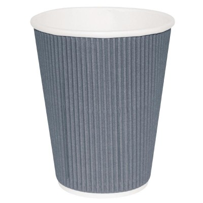 Fiesta Takeaway Coffee Cups Ripple Wall Charcoal 8oz (25)
