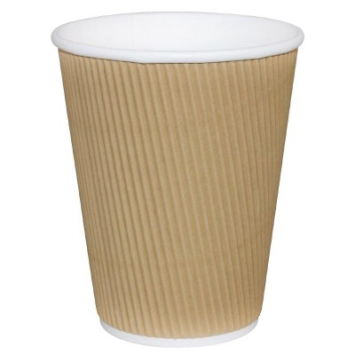 Fiesta Takeaway Coffee Cups Ripple Wall Kraft 12oz (25)