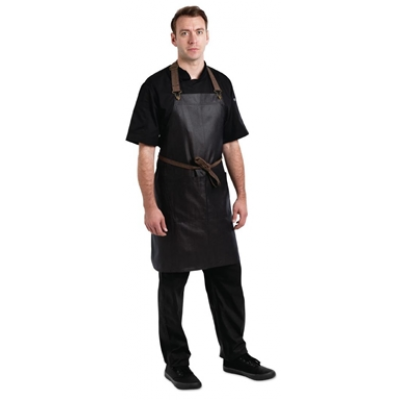 Chef Works Urban Wet Look Boulder Bib Apron Black and Brown