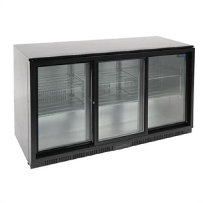 Polar GL013 Triple Sliding Door Back Bar Cooler in Black with LED Lighting