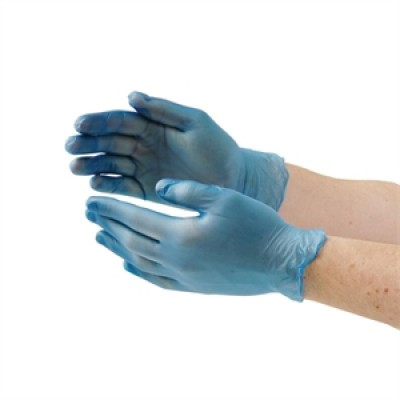 Vogue Vinyl Food Prep Gloves Blue Powder Free