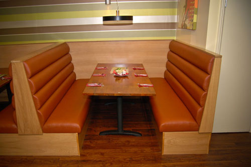 Banquette seating and fixed booth seating   red moon catering
